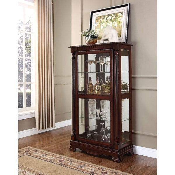 Wooden Gl Curio Cabinet Cherry Brown Free Shipping Today 21617678