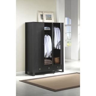 Wooden Wardrobe with 2 Drawers, Espresso Brown
