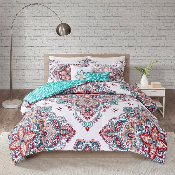 510 Design Emmi Aqua/Indigo 5 Piece Reversible Print Comforter Set