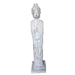 Standing Buddha Figurine, Blue And Gold