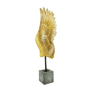 Adorning Polyresin Wing On Base Sculpture, Gold