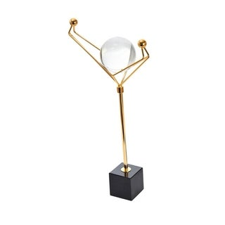 Decorative Glass Orb On Metal Stand Sculpture, Multicolor