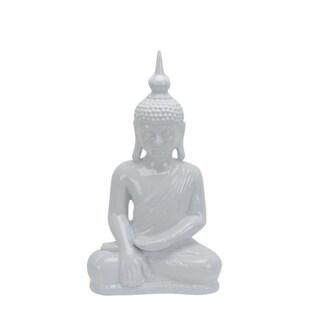 Ceramic Sitting Buddha With Pointed Ushnisha, White