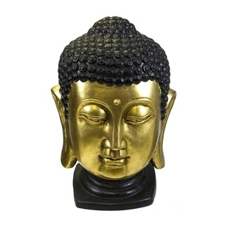 Ceramic Buddha Head Sculpture, Black And Gold