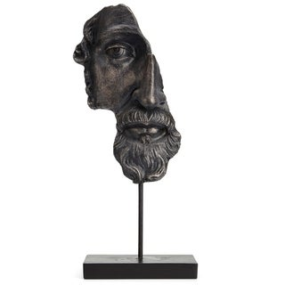 Fantastic Resin And Iron Artistic Head Sculpture On Base, Black