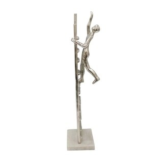 Man Climbing On Ladder Metal Figurine On Marble Base, Silver