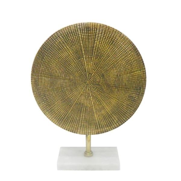 Shop Antique Metal Disk Sculpture On Stand Gold