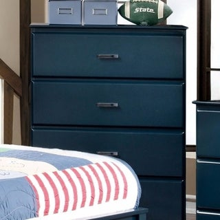 Transitional Style Chest With Metal Drawer Pulls, Blue