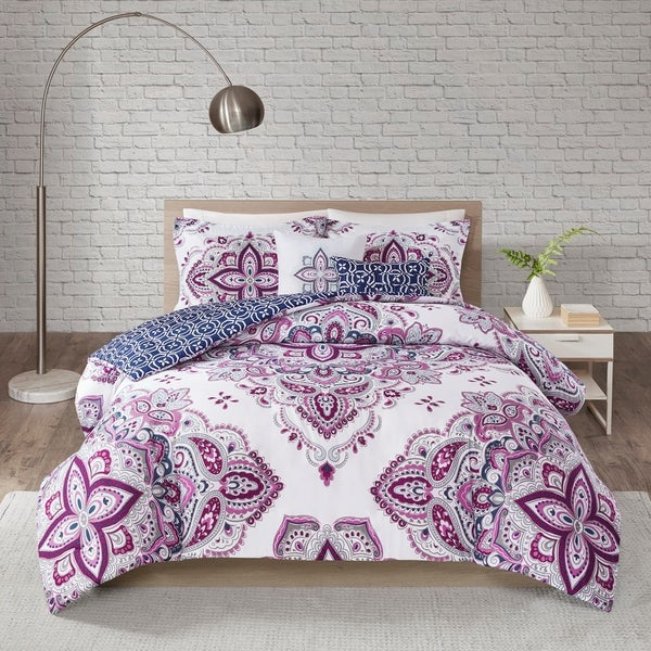 510 Design Emmi Indigo/Purple 5 Piece Reversible Print Duvet Set