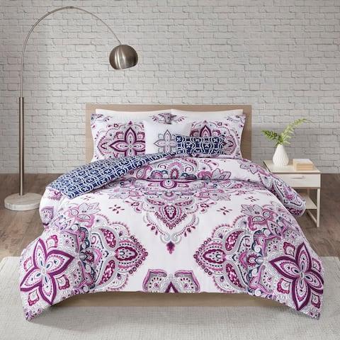 510 Design Emmi Indigo/Purple 5 Piece Reversible Print Duvet Set