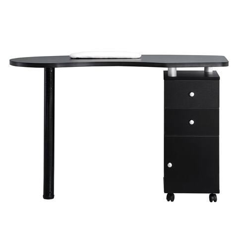 BarberPub Nail Table Manicure Nail Art Table Desk 0411(White/Black)