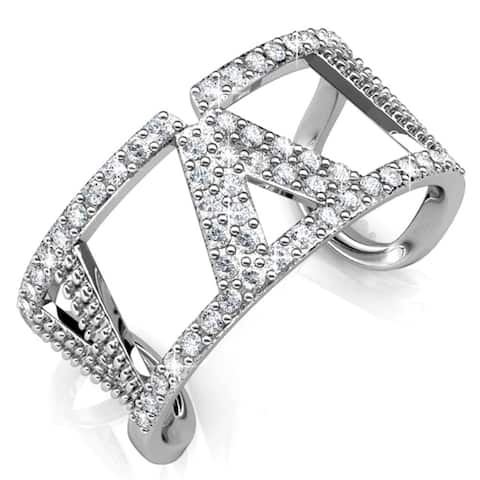 White Gold Plated Womens Open Back V Ring w/ Clear sparkling crystals (Size 5,6,7)