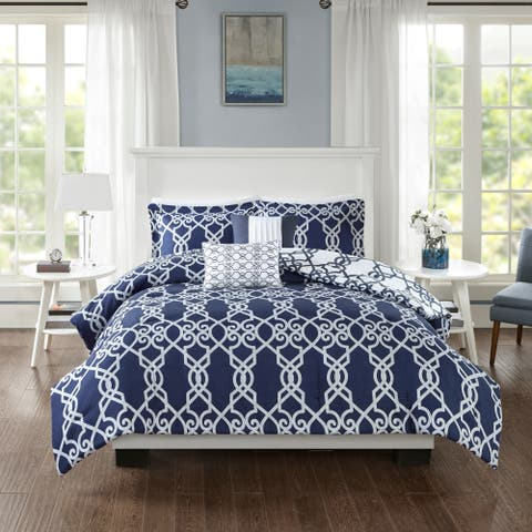 510 Design Neville Dark Navy 5 Piece Reversible Print Comforter Set