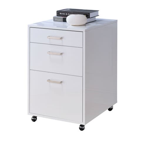 Modern File Cabinet with Three Spacious Drawers and Castors, White