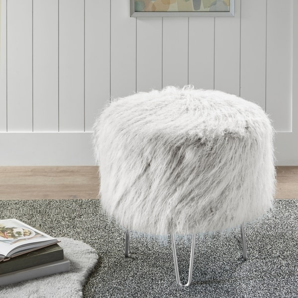Shop Intelligent Design Cassidy Grey Faux Fur Round Stool