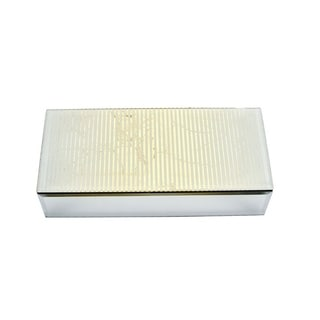 Rectangular Wood And Glass Storage Box, Silver And Gold