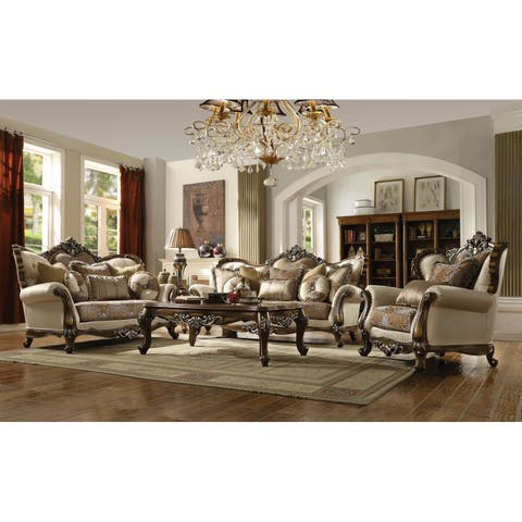 ACME Latisha Sofa w/6 Pillows, Tan, Pattern Fabric & Antique Oak