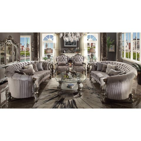 ACME Versailles Sofa w/5 Pillows, Velvet & Antique Platinum