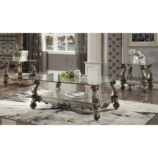 ACME Versailles Coffee Table, Antique Platinum & Clear Glass