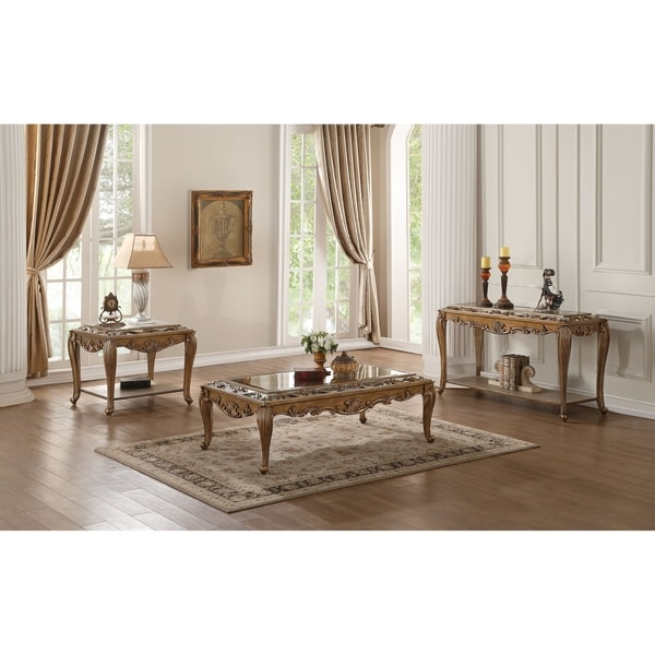 Shop ACME Orianne Coffee Table In Mirrored And Antique