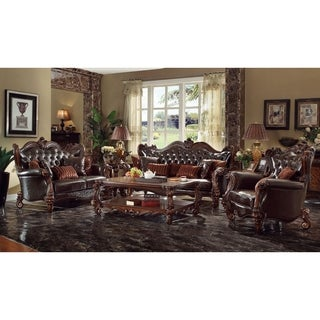 ACME Versailles Sofa W/7 Pillows, 2 Tone Dark Brown PU U0026 Cherry