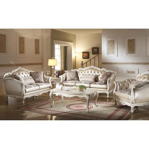 ACME Chantelle Loveseat w/3 Pillows, Rose Gold PU/Fabric & Pearl White