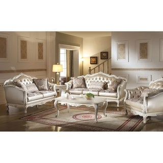ACME Chantelle Loveseat w/3 Pillows, Rose Gold PU/Fabric & Pearl White