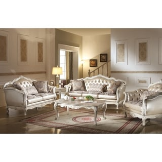 ACME Chantelle Sofa w/3 Pillows, Rose Gold PU/Fabric & Pearl White