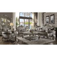 ACME Versailles Sofa w/6 Pillows, Silver PU & Antique Platinum