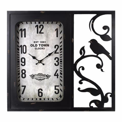 Birdie Wooden Glass Clock,Black