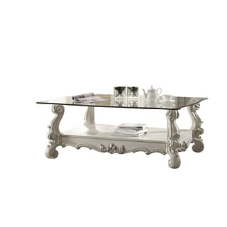 ACME Versailles Coffee Table, Bone White & Clear Glass