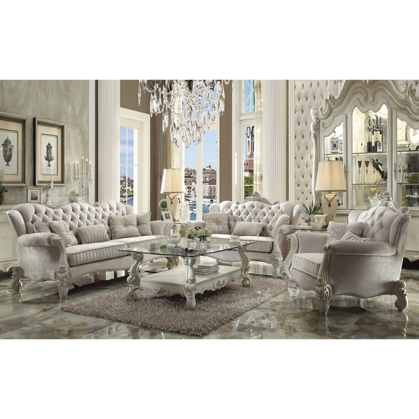 Shop Acme Versailles Sofa W 5 Pillows Ivory Velvet Amp Bone