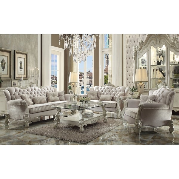 ACME Versailles Sofa W/5 Pillows, Ivory Velvet U0026amp; Bone White