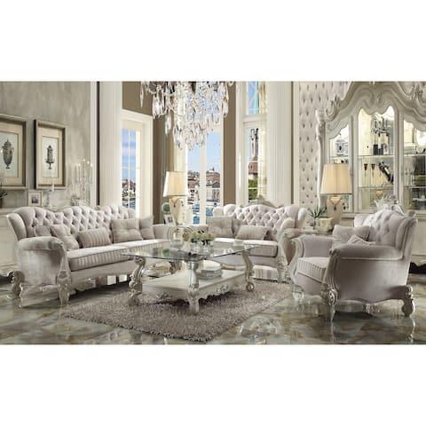 ACME Versailles Sofa w/5 Pillows, Ivory Velvet & Bone White