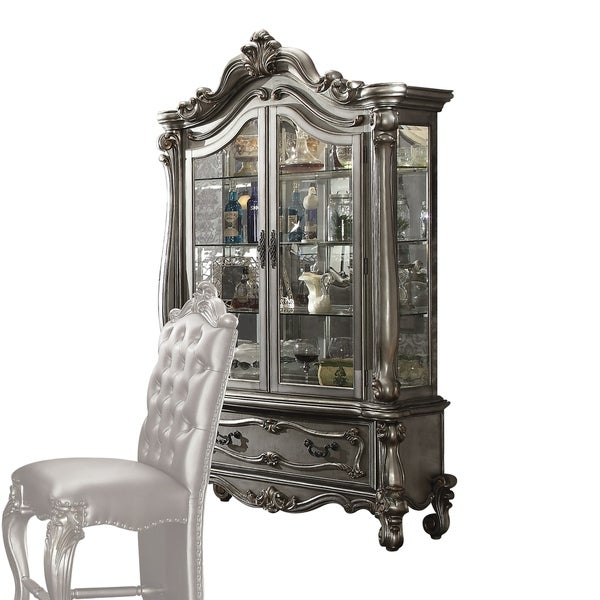 ACME Versailles Curio Cabinet, Antique Platinum (1Set/2Ctn) - Shop ACME Versailles Curio Cabinet, Antique Platinum (1Set/2Ctn