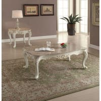 ACME Chantelle Coffee Table w/Marble Top, Marble & Pearl White