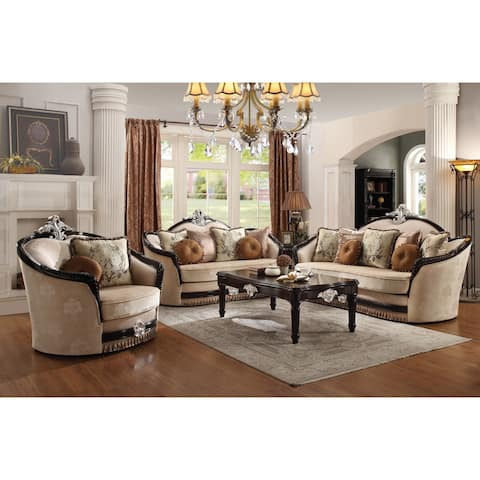 ACME Ernestine Sofa w/7 Pillows, Tan Fabric & Black