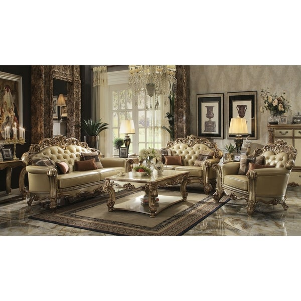 Pleasing Acme Vendome Sofa W 4 Pillows Bone Pu Gold Patina Home Interior And Landscaping Dextoversignezvosmurscom
