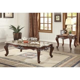 ACME Shalisa End Table, Marble & Walnut