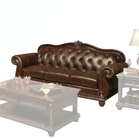 ACME Anondale Sofa, Espresso Top Grain Leather Match