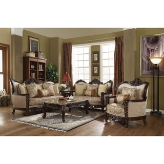 ACME Devayne Loveseat w/4 Pillows, Fabric & Dark Walnut