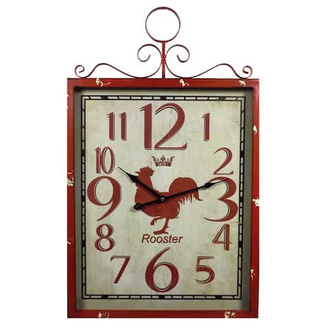 Red Rooster Metal Wall Clock,Red