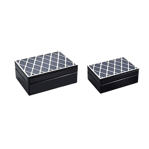 Designer Wood And Glass Storage Boxes, Black And Silver, Set Of 2