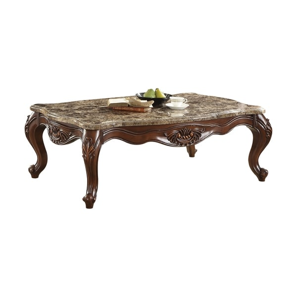 Cherry Marble Top Coffee Tables: Shop ACME Jardena Coffee Table, Marble & Cherry Oak