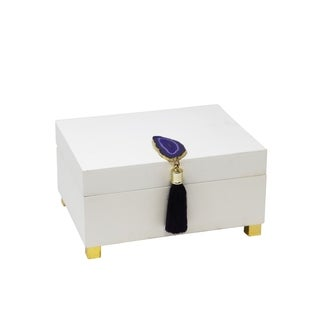 Enchanted Wooden BOX WIth AGATE, White & Purple