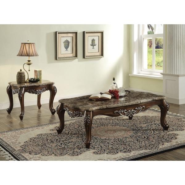 ACME Latisha Marble and Antique Oak Coffee Table