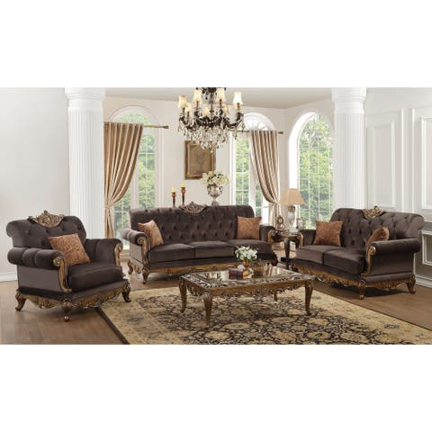 ACME Orianne Loveseat w/2 Pillows, Charcoal Fabric & Antique Gold