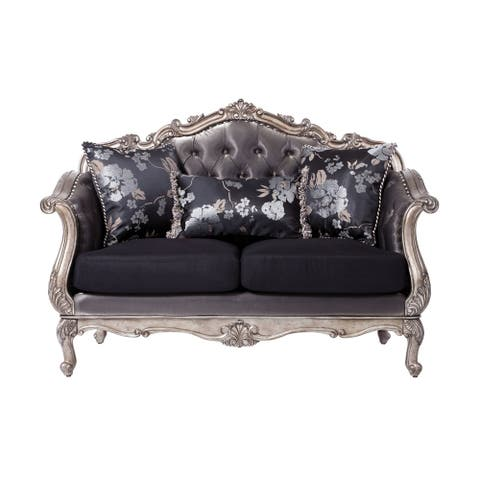 ACME Chantelle Loveseat w/3 Pillows, Silver Gray Silk-Like Fabric & Antique Platinum