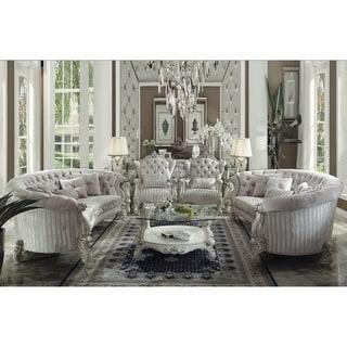 ACME Versailles Coffee Table, Bone White & Clear Glass (1Set/2Ctn)