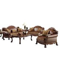 ACME Dresden Sofa w/3 Pillows, Brown PU & Chenille, Cherry Oak